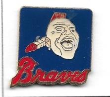 Pin's  INDIEN  Braves, Sport  Baseball  Verso  OFFICIEL  LICENSEE  MAJOR  LEAGUE  BASEBALL  1985 M.L.B. PD-34 BRAVES TM - Baseball