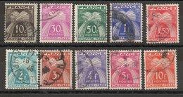 Type Gerbes, Légende Chiffre-Taxe - Yvert N+ 67 à 76 Oblitérés -  Valeurs De 10c à 10f - 1859-1955 Oblitérés