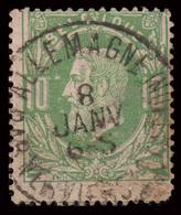 """Timbre D'Attente: COB N°30 - AMBt. """"ALLEMAGNE PAR VERVIERS (STATION))"""" - 1869-1883 Leopold II."""