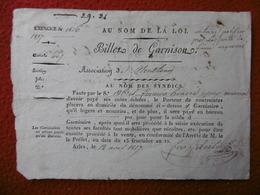 BILLET DE GARNISON ARLES 1817 - Documents Historiques