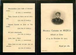280120 - FAIRE PART De Décès - Micaela Carassa DE MUJICA 1913 LIMA PEROU - Obituary Notices