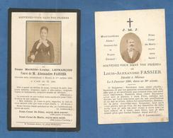 LOT 2 GENEALOGIE FAIRE PART CARTE MORTUAIRE DECES DAME FASSIER LEFRANCOIS 1890 1893 MEAUX - Décès