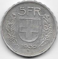 Suisse - 5 Francs - 1932 - Argent - Switzerland