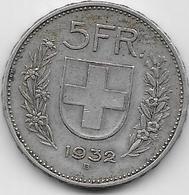 Suisse - 5 Francs - 1932 - Argent - Suisse