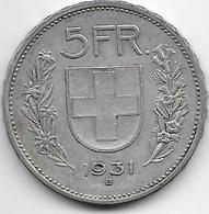 Suisse - 5 Francs - 1931 - Argent - Suisse