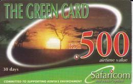 TARJETA DE KENIA DE GREEN CARD DE KSH 500 PAISAJE - PUESTA SOL -SUNSET DATE 30/06/2003 - Kenya