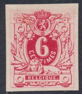 Essai - Lion Couché (Sous Type 2, Non Adopté) 6ctm Rouge Vif, Tirage En Photogravure Sur Papier Blanc Couché STES 1558 - Probe- Und Nachdrucke