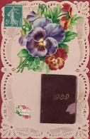 CPA Dentellée En Dentelles Met Kant Lace Collage Livret Almanach Almanac 1909 Bonne Annee Carte Fantaisie - Brodées