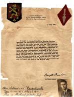 Guerre 40 45 Bataillon Des Fusiliers Belges  Diplome SUP COMMANDER   FIRST CANADIAN ARMY  Plus 2 BADGES - Vieux Papiers