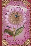 CPA Celluloid Dentellée En Dentelles Met Kant Lace Collage Fleur Hirondelle Zwaluw 1928 Nieuwjaarsbrief Carte Fantaisie - Brodées