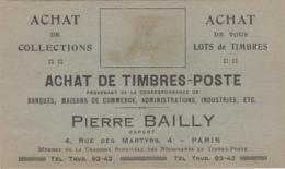 Cartes De Visite - Carte Publicité Pierre Bailly Achats Timbres - 4 Rue Des Martyrs Paris 4ème - Visiting Cards