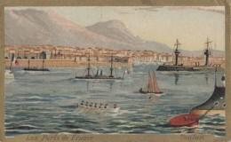 """Bâteaux - Marine De Guerre - Ports De France - Toulon 83 - Chromo Chicorée Leroux """"à L'Ecolière"""" 59 Orchies - Krieg"""