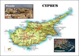 Cyprus Country Map New Postcard Zypern Landkarte AK - Chipre