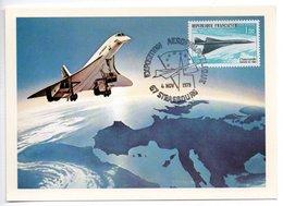Carte  / Exposition Aérophilatélique  / Concorde / Strasbourg / 4-11-1979 - Cartoline Maximum