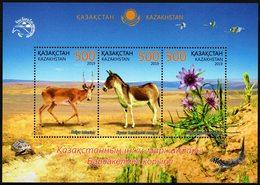 Kazakhstan 2019 SS MNH Barsakelmes Nature Reserve Saiga Equus Hemionus Onager Persian Onager Flowers - Francobolli