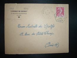 LETTRE TP M. DE MULLER 15F OBL. HEXAGONALE Tiretée 6-8 1956 MONTAIGU (VENDEE) CP N°3 (85) CORRESPONDANT - Postmark Collection (Covers)