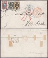 "Russie - Lettre 1K+3K+10K De Riga 12/10/1872 Vers Amsterdam- Marque De Passage ""Aus Russland"" (RD276) DC5790 - 1857-1916 Impero"