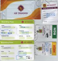 AIR THANLWIN BIRMANIE MYANMAR BURMA TISSUE CARTE ACCES BOARDING CARD BAGAGE BAGGAGE TAG VOL FLIGHT YANGON HEHO - Instapkaart