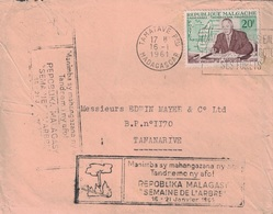 MADAGASCAR - TAMATAVE - 16-1-1961 - GRIFFE SPECIALE SEMAINE DE L'ARBRE 16-21 JANVIER 1961. - Madagascar (1960-...)