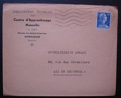 Miramas 1958 Centre D'apprentissage Masculin, Cachet à Date De Saint Chamas - Marcophilie (Lettres)