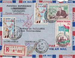 MADAGASCAR - TANANARIVE ANALAKELY- 30-5-1963 - LETTRE RECOMMANDEE - SUPERBE AFFRANCHISSEMENT¨POUR ST DENIS A LA REUNION. - Madagascar (1960-...)