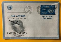 9960 - Air Letter FDC 29.08.1952 - New-York - Siège De L'ONU