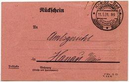 DT.REICH 1931, RÜCKSCHEIN MIT SST KNEIPP-BAD HEILIGENFELD-EICHSFELD - Lettres & Documents