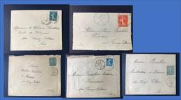 Lot De Lettres Timbres Type Semeuse Marque Postale Cachet Marcophilie Daguin Bureau Distribution L1 - Poststempel (Briefe)