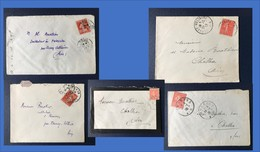 Lot De Lettres Timbres Type Semeuse Marque Postale Cachet Marcophilie Daguin Bureau Distribution L2 - Poststempel (Briefe)