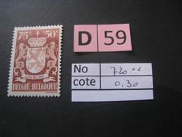 Timbres Anciens Vendus à 20% De La Valeur Catalogue  COB 720** - Autres