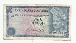 JC , Billet , BANK NEGARA MALAYSIA ,1 $ , Satu Ringgit ,2 Scans - Malaysie