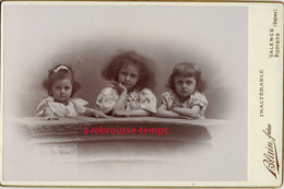 Vers 1896-grand CDV-(CAB)  3 Jolies Frimousses D'enfants-photo Blain à Valence Et Romans-bel état - Ancianas (antes De 1900)