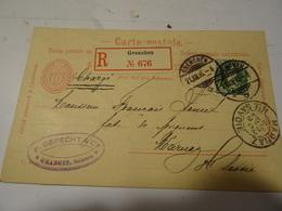SUISSE  Entier Privé CHOCOLAT SUCHARD En  Recommandée - GRENCHEN 1896 Pour La FRANCE MARNAZ - 1882-1906 Wappen, Stehende Helvetia & UPU
