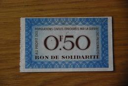 Bon De Solidarité Petain Sans Serie 50 Centimes - Bons & Nécessité