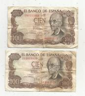 JC , Billet , ESPAGNE , EL BANCO DE ESPANA ,  100 , Cien Pesetas , 2 Scans ,LOT DE 2 BILLETS DE 100 PESETAS - [ 3] 1936-1975 : Régence De Franco