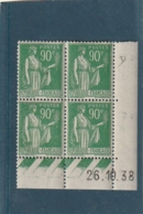 COINS DATE Franchise Militaire Neuf N° 367 Type Paix 90cts Vert Timbres ** Micro Adhérences En Bas - Coins Datés