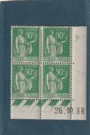 COINS DATE Franchise Militaire Neuf N° 367 Type Paix 90cts Vert Timbres ** Micro Adhérences En Bas - Esquina Con Fecha