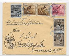 Lichtenstein Vaduz 28.6.32 Zeppelin Post FTM Graf LZ 127 DR Friedrichshafen MIf. MI.108,109,110,113 Lichtensteinfahrt - Poste Aérienne