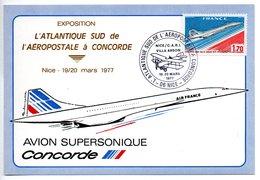 Carte  / Exposition Atlantique Sud  / Concorde / Nice / 19 Et 20-3-77 - Maximum Cards