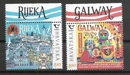 CROATIA 2020, JOINT ISSUES HRVATSKA CROATIA IRELAND,TOWN RIJEKA,GALWAY,MNH - Croatia