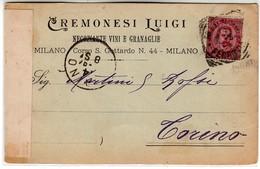 VINO WINE CREMONESI LUIGI NEGOZIANTE VINI E GRANAGLIE MILANO - BIGLIETTO COMMERCIALE 1894 - Cartes De Visite