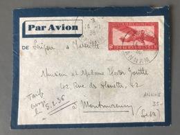 Indochine Entier Aérien - De Ankhé (Annam) Pour Montmorency 14-1-36 - (C1121) - Lettres & Documents