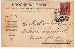 VINO WINE DROGHERIA MADINI MEDICINALI VINI DI LUSSO CIOCCOLATO MILANO - BIGLIETTO COMMERCIALE 1894 - Cartes De Visite
