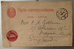 9982 -  10 Ct Rouge Rigi-Staffel 09.08.1878 Avec Vignette Hôtel-Pension Rigi-Staffel - Entiers Postaux