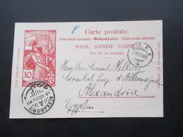 Schweiz 1900 GA P 33  Lenk Nach Alexandria Ägypten An Das Deutsche Konsulat / Vize - Konsul Hellweg - 1882-1906 Armoiries, Helvetia Debout & UPU