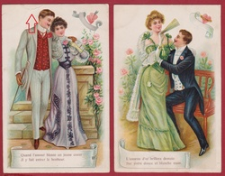 Lot Of 2 Cards Romantiek Romance Couple Liefde Amour Love Carte Fantaisie Fantasiekaart Relief Gaufree Embossed CPA - Couples