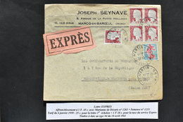 France - Marianne De Décaris N° 1263 + Semeuse N° 1233 Sur Lettre Expres Du 10 Avril 1961 - 1960 Marianne Van Decaris