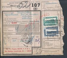 BELGIQUE DOCUMENT SUR TIMBRES CHEMIN DE FER TAMPON TIENEN X ATTENHOVEN X LIEGE : - Railway