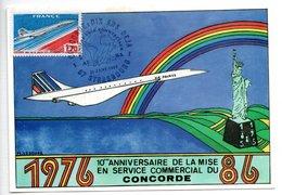 Carte  / 10 ème Anniversaire Service Commercial  / Concorde / Strasbourg /  21-1-88 - Maximum Cards