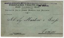 VINO WINE FERDINANDO VERATTI DI LUIGI OLII E VINI MILANO - BIGLIETTO COMMERCIALE 1891 - Cartes De Visite
